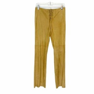 Vintage Theory Camel Leather Lace Up Waist Pants 4